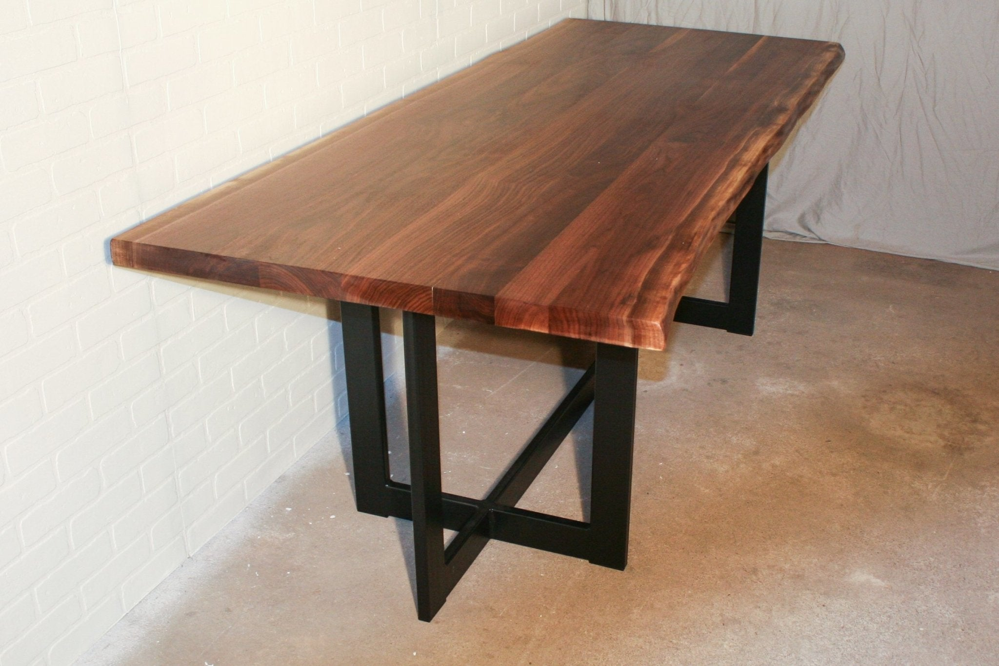 Live Edge Walnut Table with Crib Base - Loewen Design Studios