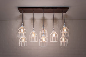 Modern 8 Pendant Wood Light - Loewen Design Studios