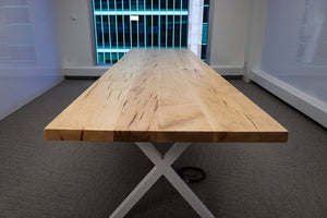 Natural Maple Table on White Legs - Loewen Design Studios