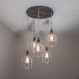 Round 5 Pendant Wood Light with Cages - Loewen Design Studios