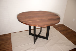 Round walnut dining table for Teri - Loewen Design Studios