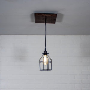 Small Wood Pendant Light with Cage - Loewen Design Studios