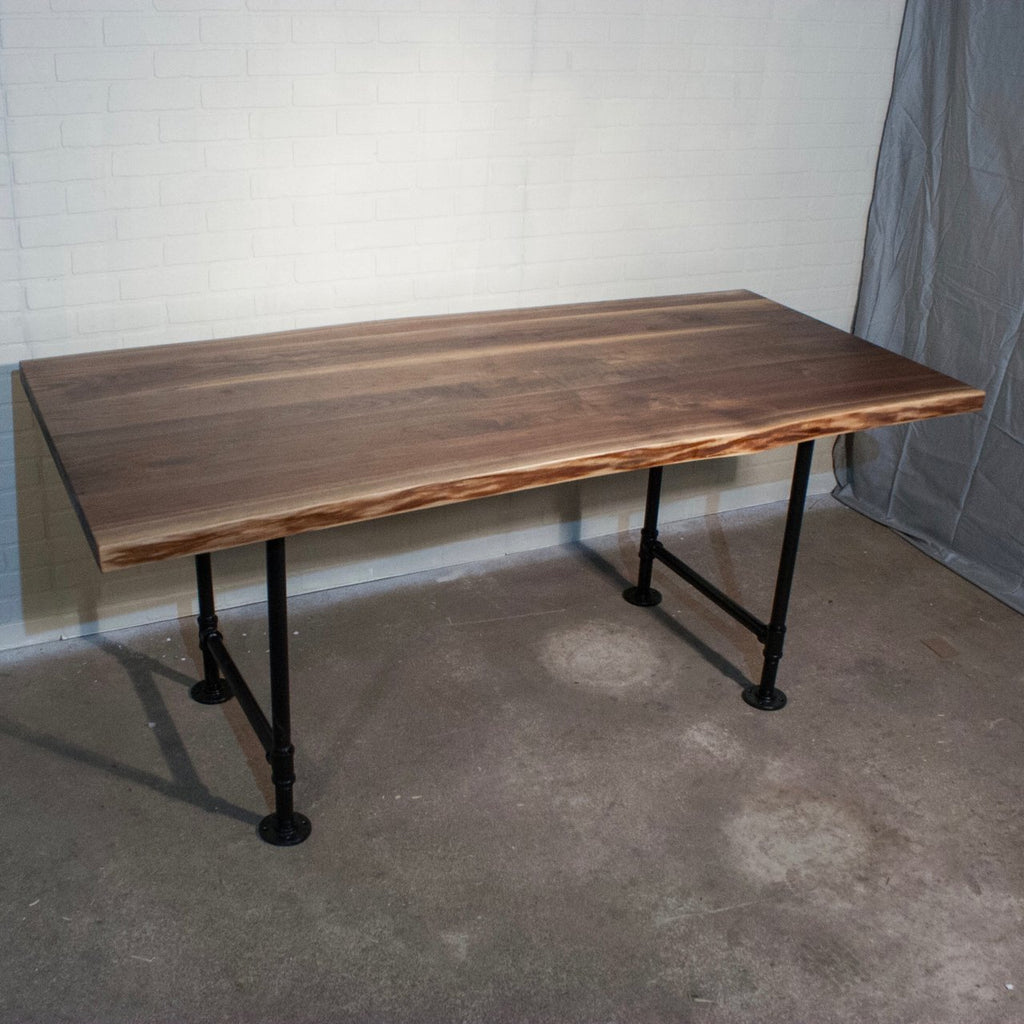 Steampipe Table with Live Edge Walnut Top - Loewen Design Studios