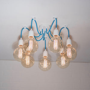 Swag Light on Blue Cords - Loewen Design Studios