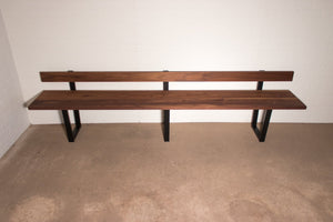 Walnut Bench with Backrest - Loewen Design Studios