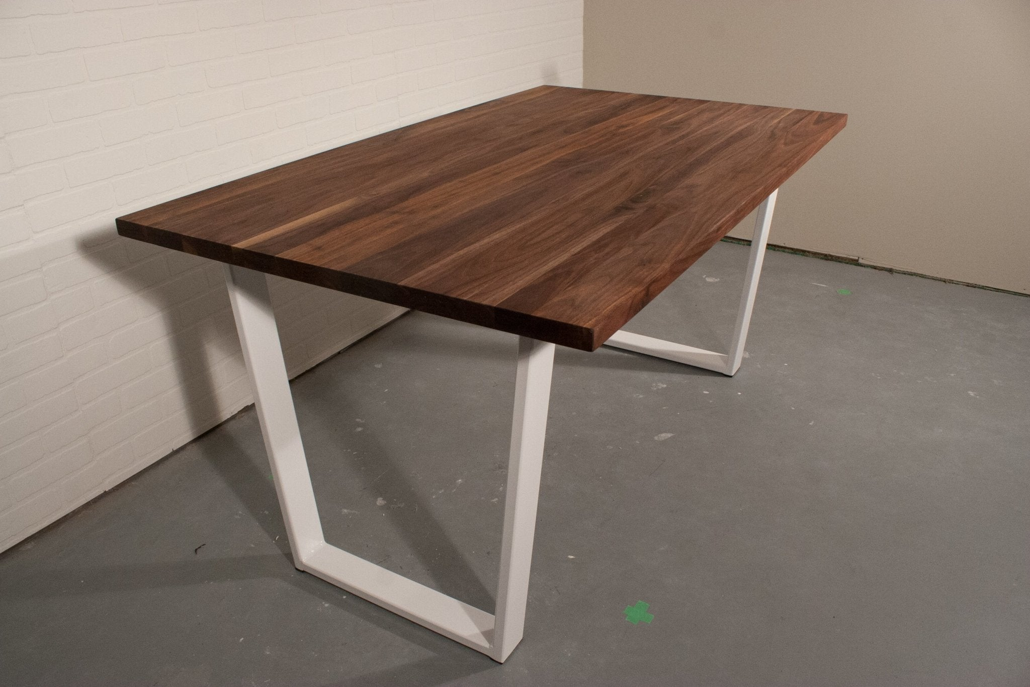 Walnut Dining Table on White Steel Legs - Loewen Design Studios