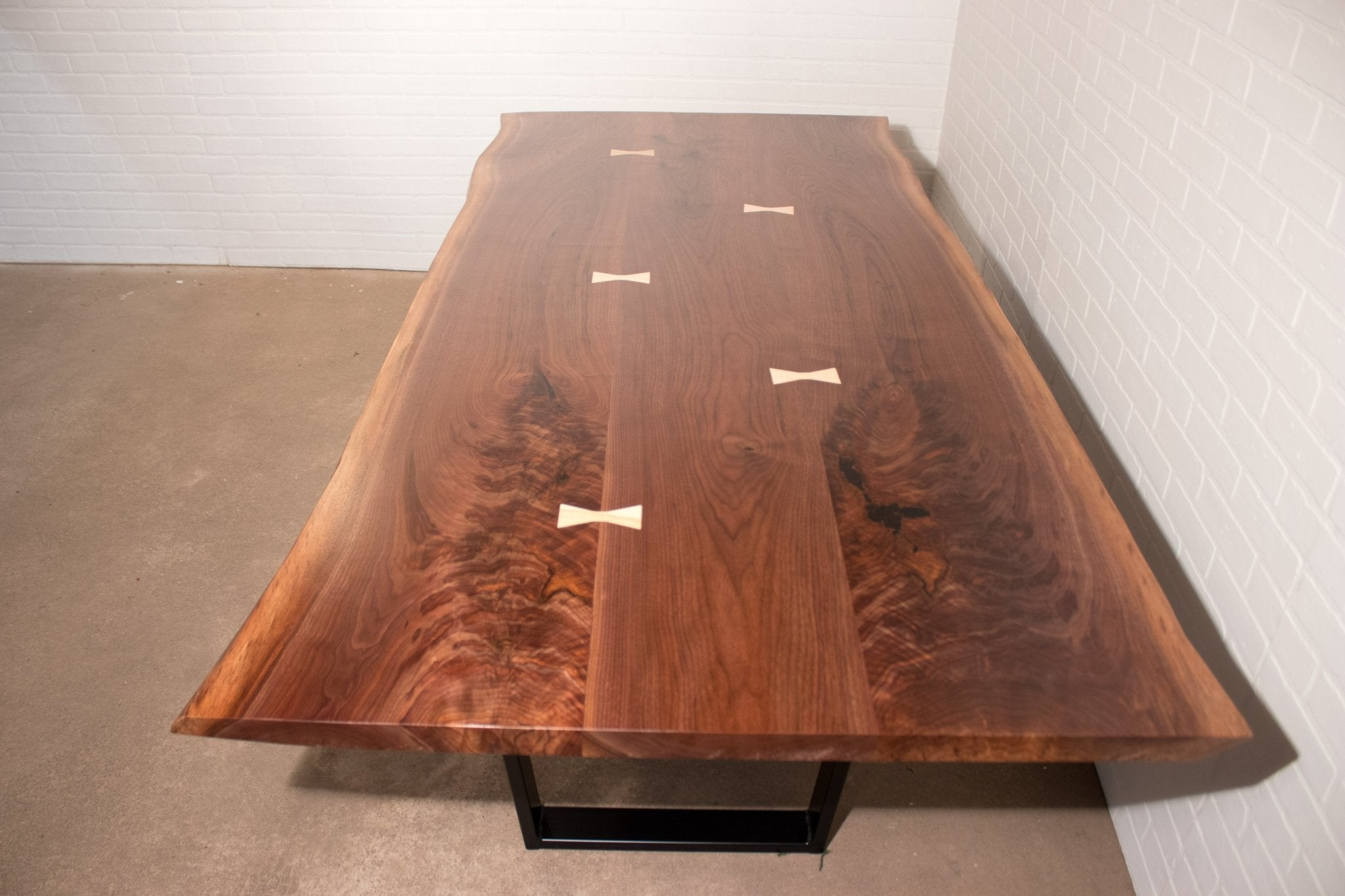 Walnut Dining Table with Bow Ties - Loewen Design Studios