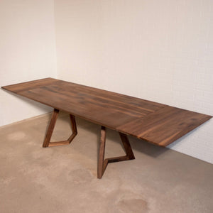 Walnut Extension Table and two Benches for Cathia - Loewen Design Studios