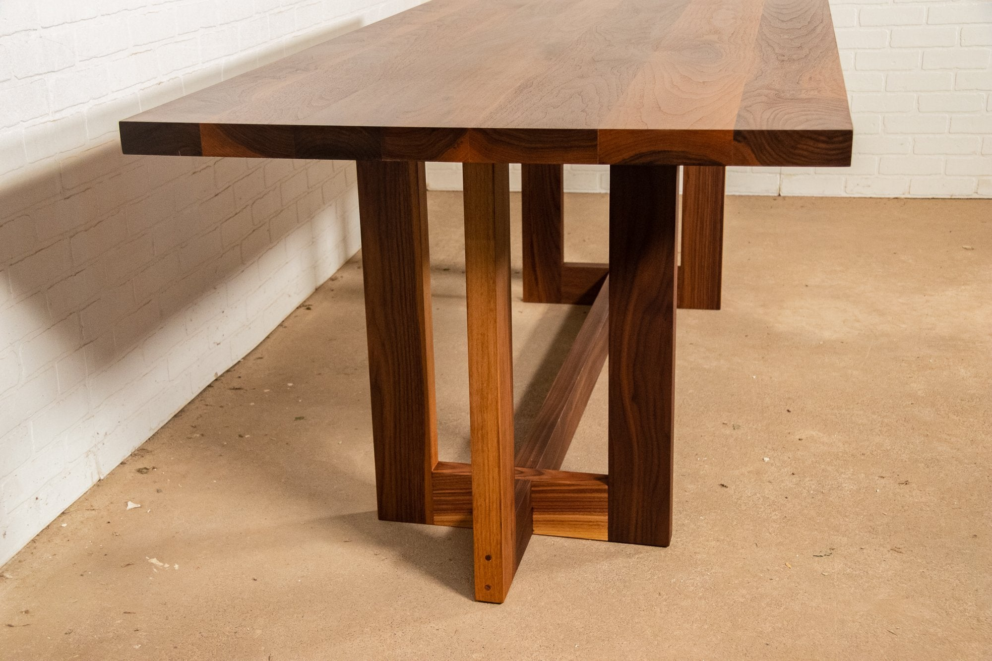 Walnut Harvest Table on Wood Cross Base - Loewen Design Studios