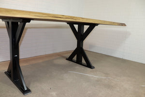 Walnut Table on Steel Trestle Base - Loewen Design Studios