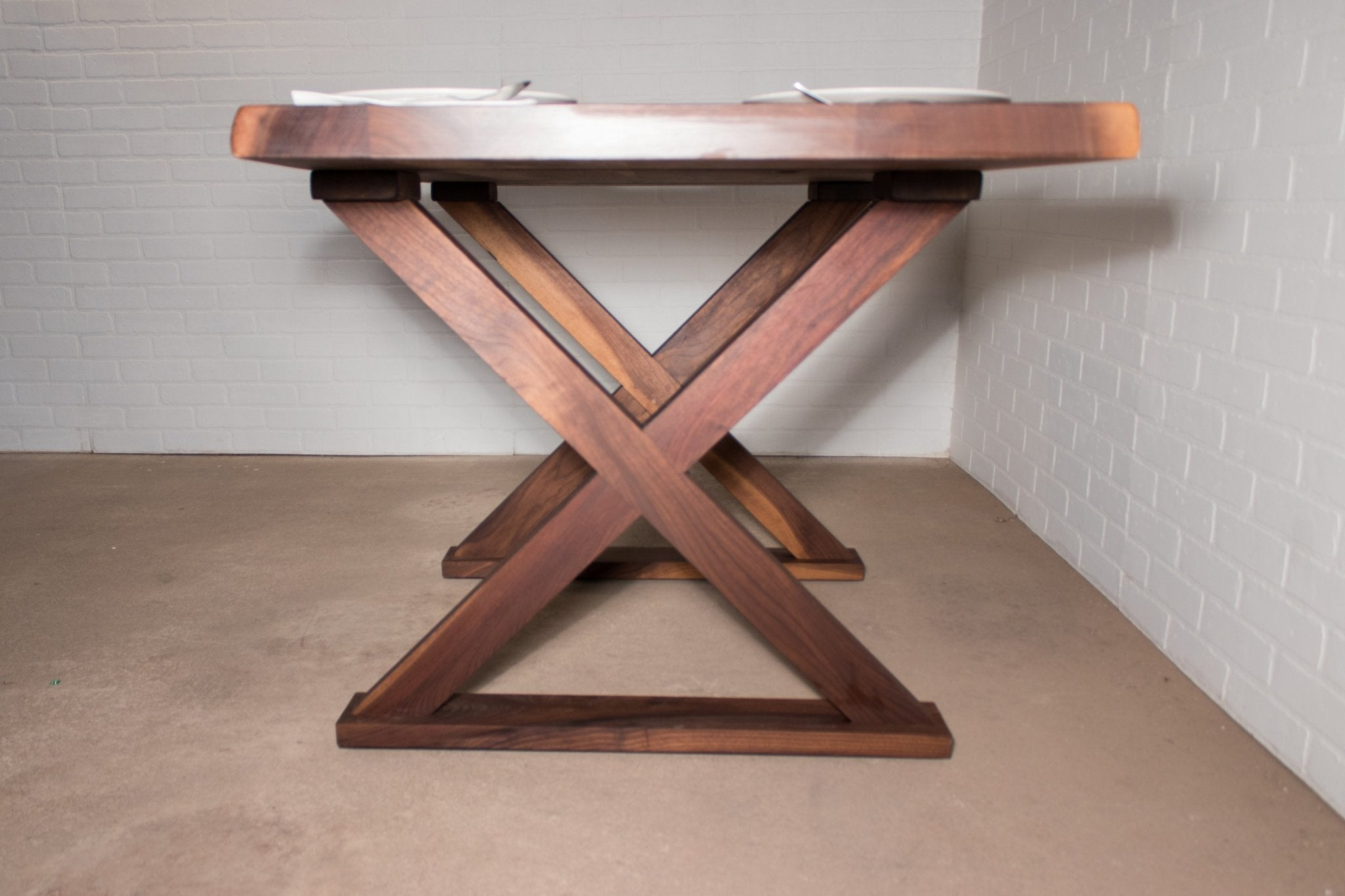 Walnut Table on Wood X Legs - Loewen Design Studios