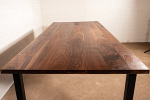 Walnut Table with Steel Corner Post Legs - Loewen Design Studios