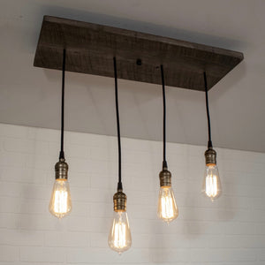 Wood Light Fixture with 4 Pendants - Loewen Design Studios