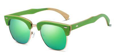 Semi Rim Green Bamboo Sunglasses