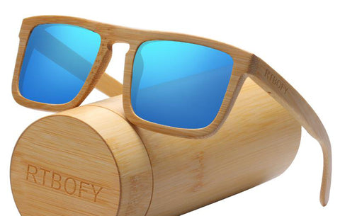 RTBOFY Large Square Frame Bamboo Sunglasses
