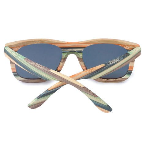 SKYDOVE Chunky Colorful Skateboard Style Wooden Bamboo Sunglasses with UV400 Lenses