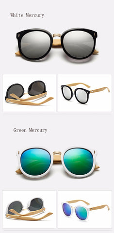Ralferty Round Oversized Bamboo Sunglasses
