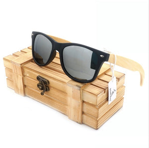 BOBO BIRD High Quality Vintage Black Square Sunglasses With Bamboo Legs Mirrored Polarized Summer-Sunglasses-Bamboo Sunnies