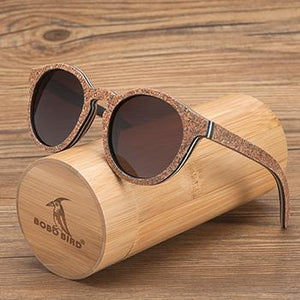 BOBO BIRD New Handmade Cork-Look Wooden Womens Sun Glasses With Polarized Lenses-Sunglasses-Bamboo Sunnies