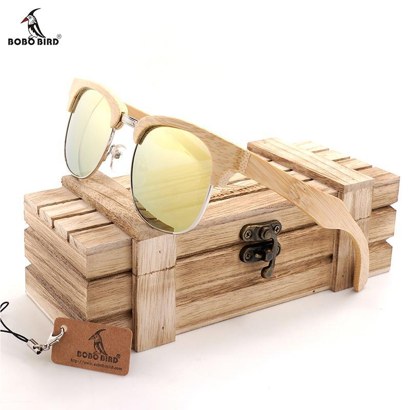 BOBO BIRD Unique Designer Bamboo Sunglasses for Women and Men with UV400 Lenses and Wooden Box-Sunglasses-Bamboo Sunnies