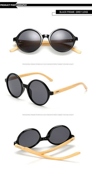 Retro Vintage Bamboo Sunglasses for Men and Women with Various Lens Colors-Sunglasses-Bamboo Sunnies