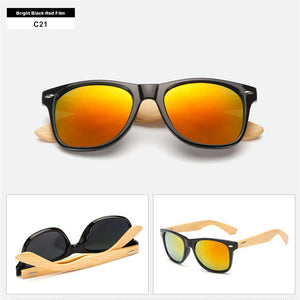 UVLAIK Mirrored Bamboo Sunglasses with UV400 Lenses-Sunglasses-Bamboo Sunnies