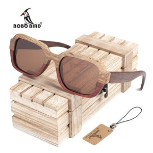 BOBO BIRD Two Tone Handmade Wooden Bamboo Sunglasses with UV lenses and wooden box-Sunglasses-Bamboo Sunnies