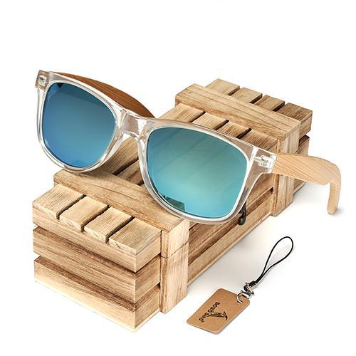 BOBO BIRD Clear Frame Sunglasses with Bamboo Legs and Polarized Lenses-Sunglasses-Bamboo Sunnies