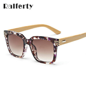 Ralferty 2016 New Square Wood Bamboo Sunglasses Women Mens Oversized Mirror Sun Glasses Female-Sunglasses-Bamboo Sunnies