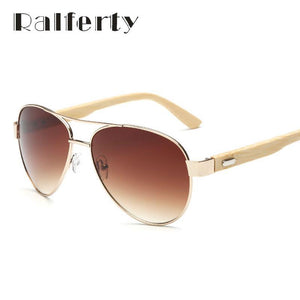 Ralferty Vintage Pilot Sunglasses with Eco-Friendly Bamboo Legs-Sunglasses-Bamboo Sunnies