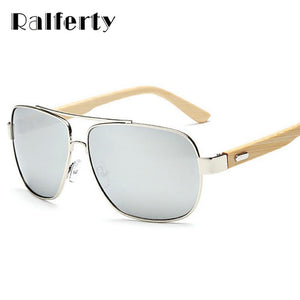 Ralferty Unisex Square Bamboo Wood Sunglasses Men Women Oversized Mirror Coating Sun Glasses-Sunglasses-Bamboo Sunnies