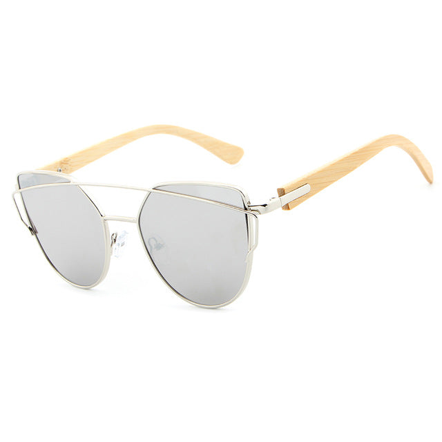 Cat Eye Bamboo Sunglasses for Women with UV400 Mirror Lenses-Sunglasses-Bamboo Sunnies
