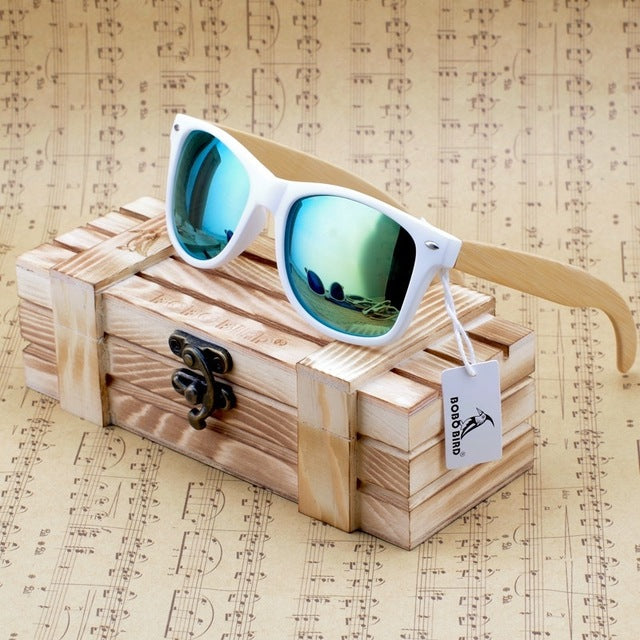 BOBO BIRD White Frame Bamboo Sunglasses with Mirrored UV400 Lenses-Sunglasses-Bamboo Sunnies