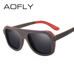 AOFLY BRAND DESIGN Men Sunglasses Bamboo Sunglasses Handmade Wooden Frame Polarized Mirror Lens-Sunglasses-Bamboo Sunnies
