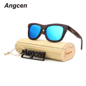 Angcen Wood Sun Glasses 2017 Hot Polarized rectangle Men and Women bamboo brand designer Retro-Sunglasses-Bamboo Sunnies