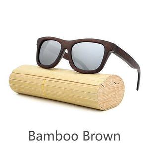 Angcen Dark Bamboo Sunglasses with Polarized Lenses-Sunglasses-Bamboo Sunnies