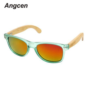 Angcen Bamboo Sunglasses with Green Frame and Polarized UV400 Lenses-Sunglasses-Bamboo Sunnies