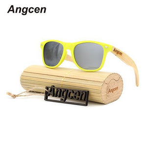 Angcen Yellow Frame Bamboo Sunglasses with Polarized UV400 Lenses-Sunglasses-Bamboo Sunnies