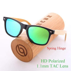 BARCUR Mirrored Bamboo Sunglasses with UV400 Polarized Lenses-Sunglasses-Bamboo Sunnies