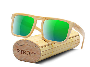 RTBOFY Bamboo Wooden Sunglasses with UV400 Protective Lenses-Sunglasses-Bamboo Sunnies