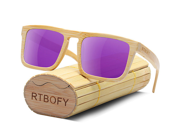 7a7f11c90cc RTBOFY Bamboo Wooden Sunglasses with UV400 Protective Lenses ...