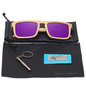 RTBOFY Polarized Square-Framed Bamboo Sunglasses-Sunglasses-Bamboo Sunnies