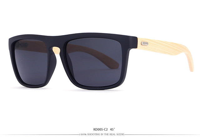 KDEAM Square Bamboo Sunglasses with Mirrored UV400 Lenses-Sunglasses-Bamboo Sunnies