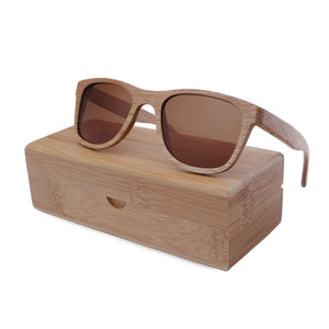 BerWer Natural Color Full Frame Classic Bamboo Sunglasses with UV400 Lenses and Wooden Box-Sunglasses-Bamboo Sunnies