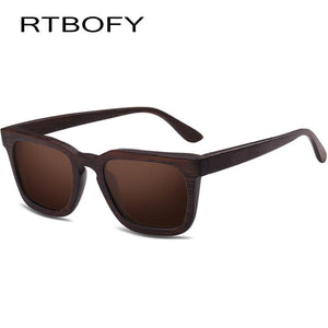 RTBOFY Polarized Bamboo Wooden Sunglasses with Vintage Frames-Sunglasses-Bamboo Sunnies