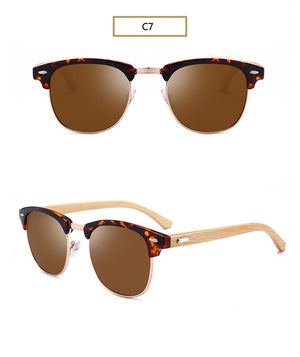 AORON Wood Sunglasses Spring Hinge Handmade Bamboo Sunglasses Men Wooden Sun glasses Women-Sunglasses-Bamboo Sunnies
