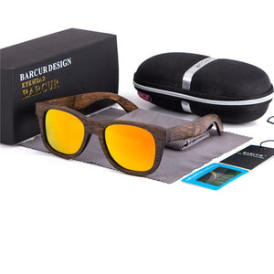 BARCUR Brown Bamboo Sunglasses with Mirrored Lenses-Sunglasses-Bamboo Sunnies