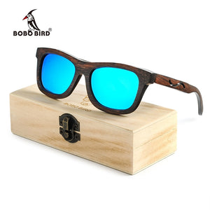 BOBO BIRD Dark Full Frame Wooden Bamboo Sunglasses With Design Cut-out in Temples, Polarized Lenses and Wood box-Sunglasses-Bamboo Sunnies