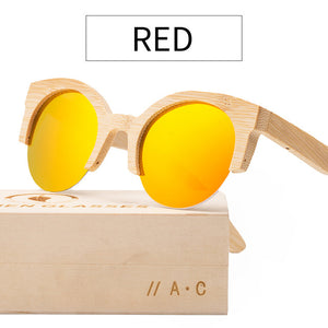 Angcen Handmade Half Frame Bamboo Sunglasses with Polarized and Mirror Lenses-Sunglasses-Bamboo Sunnies