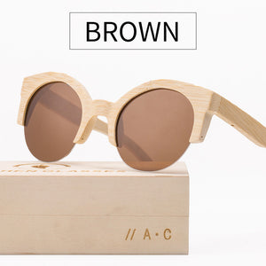 Angcen Half Frame Bamboo Sunglasses with Polarized and Mirrored Lenses-Sunglasses-Bamboo Sunnies